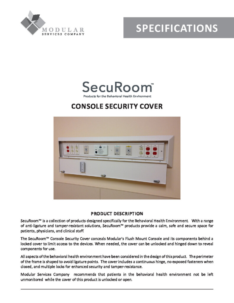 SecuRoom™ Console Security Cover Specs