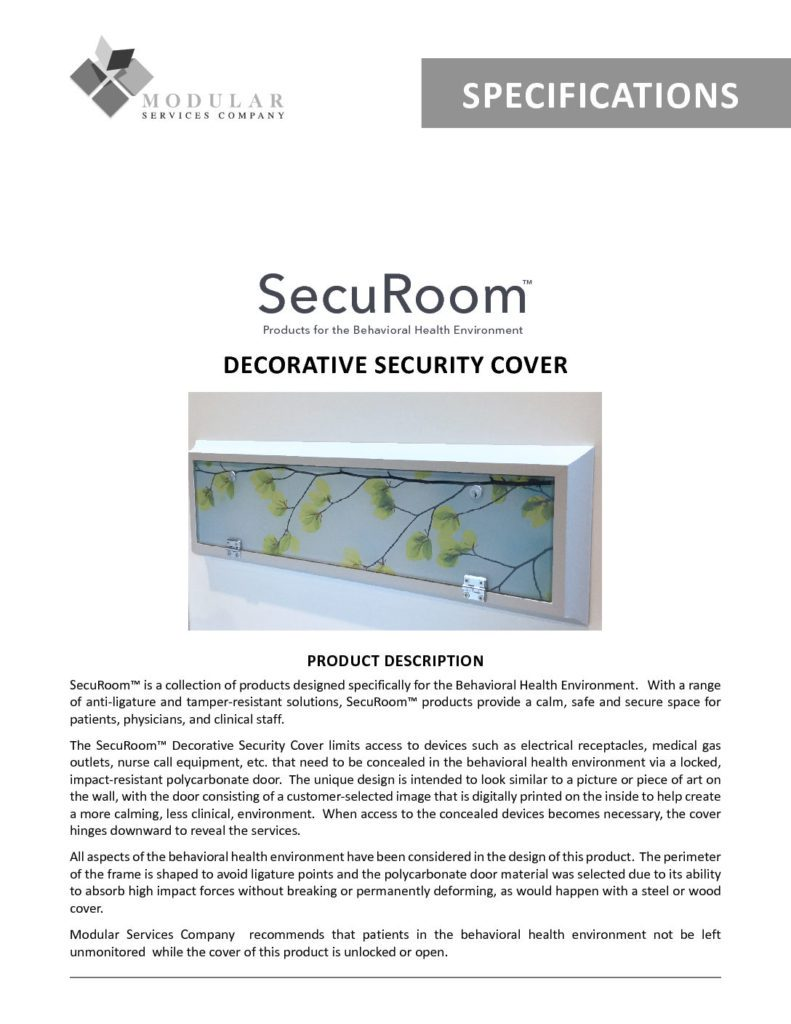 SecuRoom™ Decorative Security Cover Specs