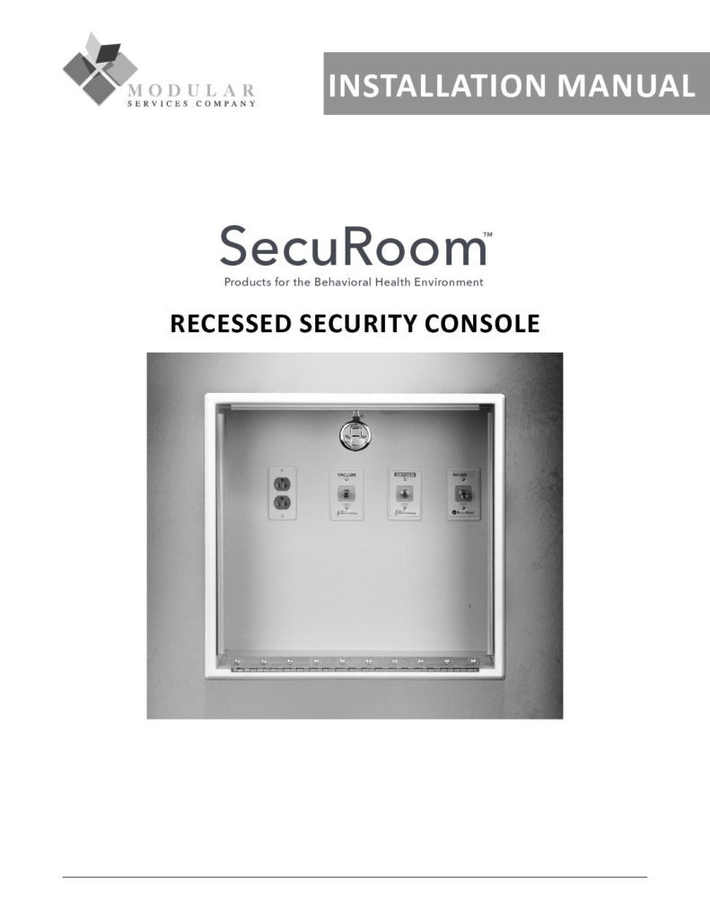 SecuRoom™ Recessed Security Console Installation Manual