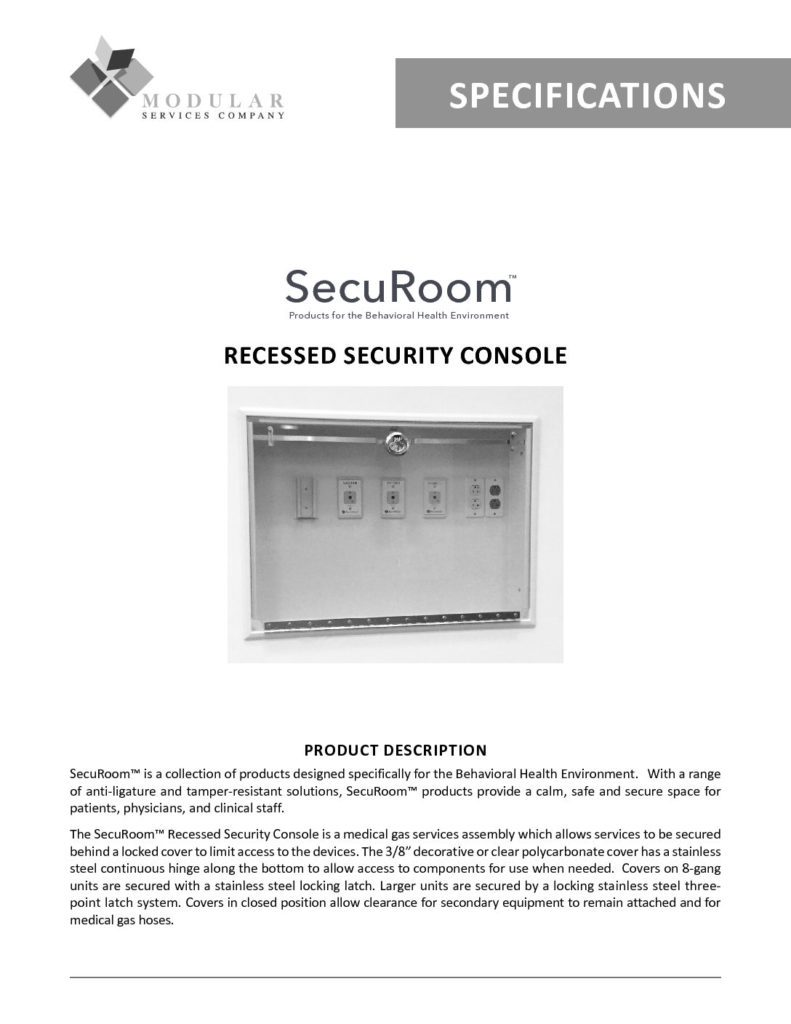 SecuRoom™ Recessed Security Console Specs