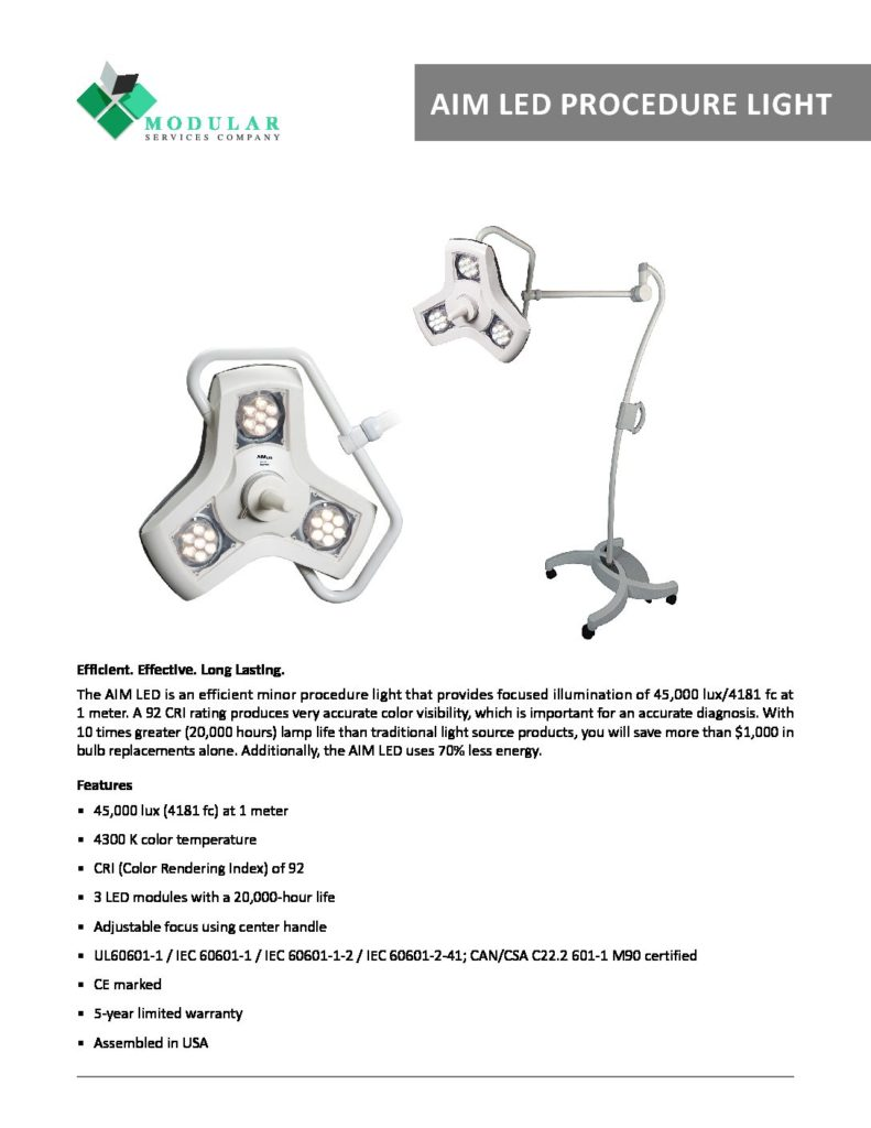 AIM LED Procedure Light Brochure