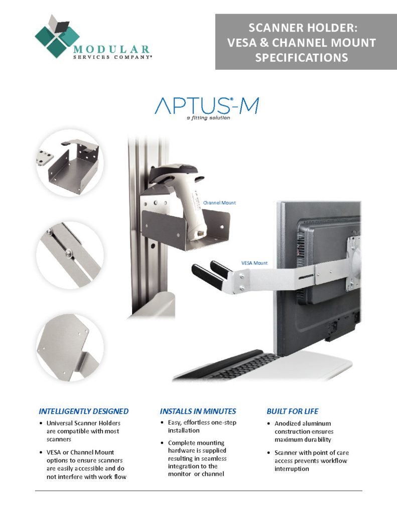 APTUS® M Scanner Holder VESA & Channel Mount Specs