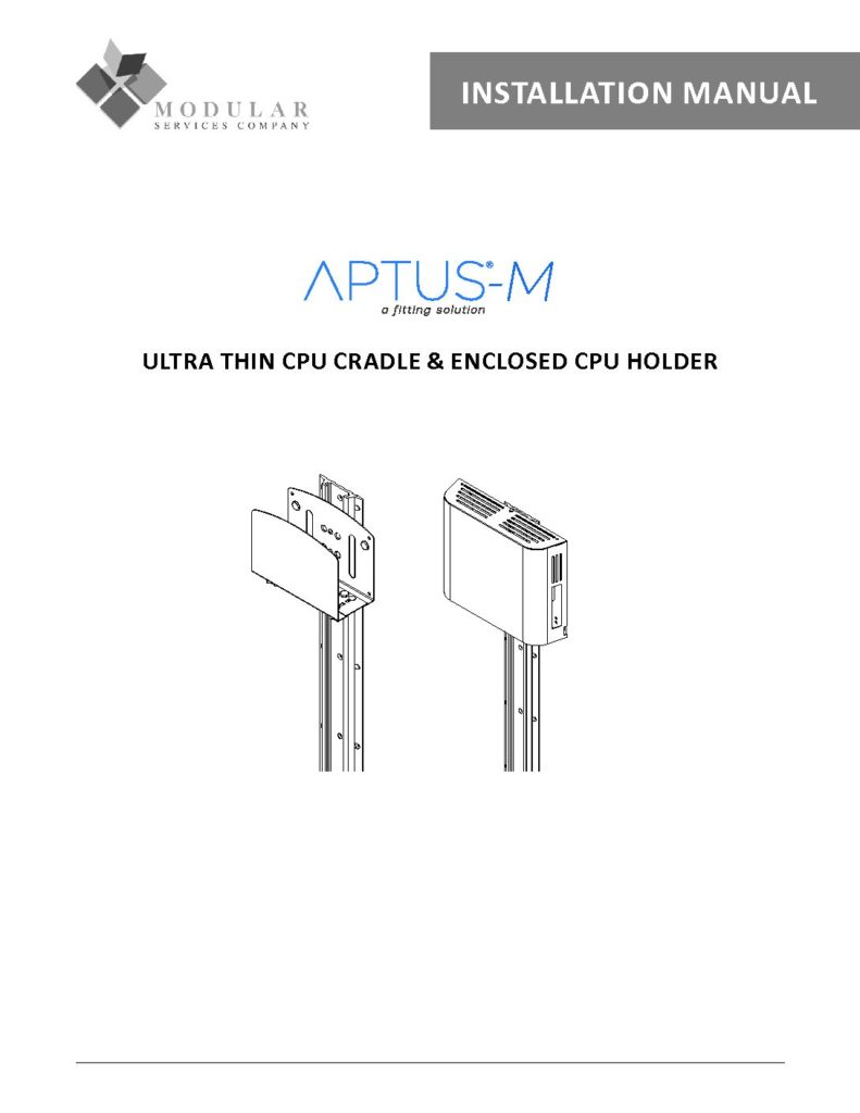 APTUS® M Ultra Thin CPU Cradle & Enclosed CPU Holder Installation Manual