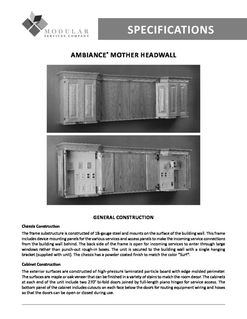 Ambiance® Mother Headwall Specs