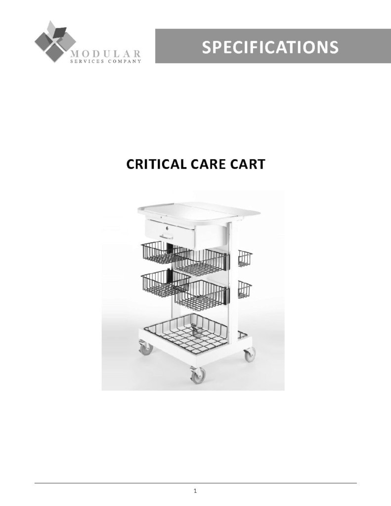 Critical Care Cart Specs