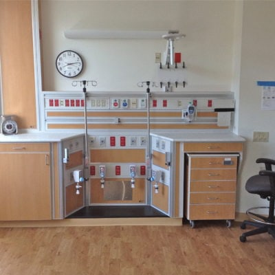 NICU Bay Casework with Storage Cart