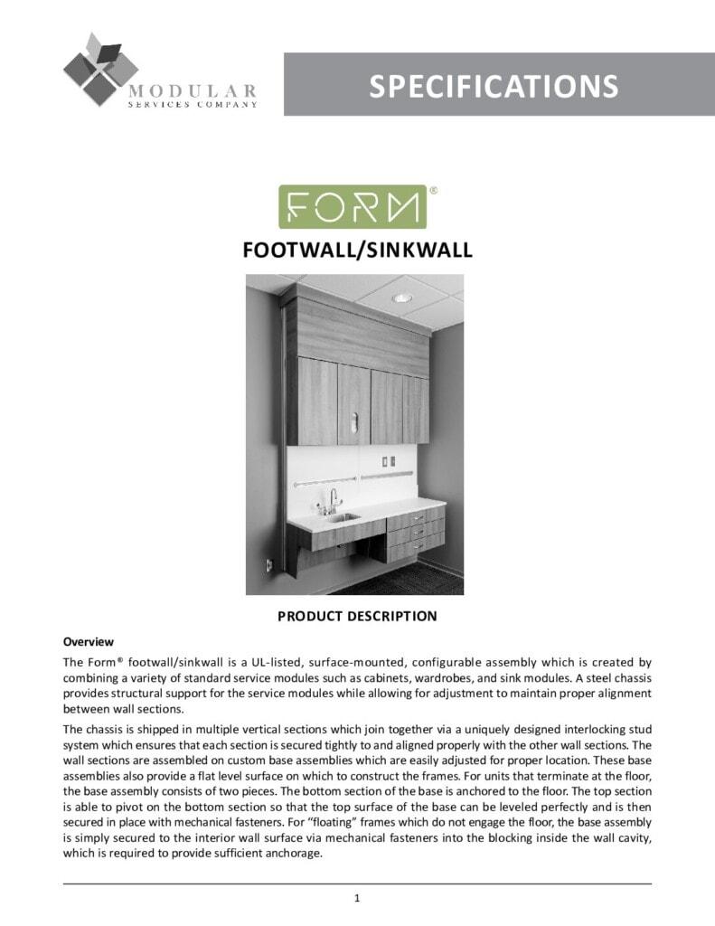 Form® Footwall & Sinkwall Specs