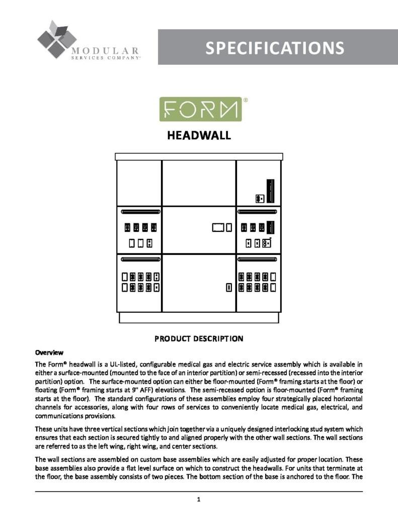 Form® Headwall Specs