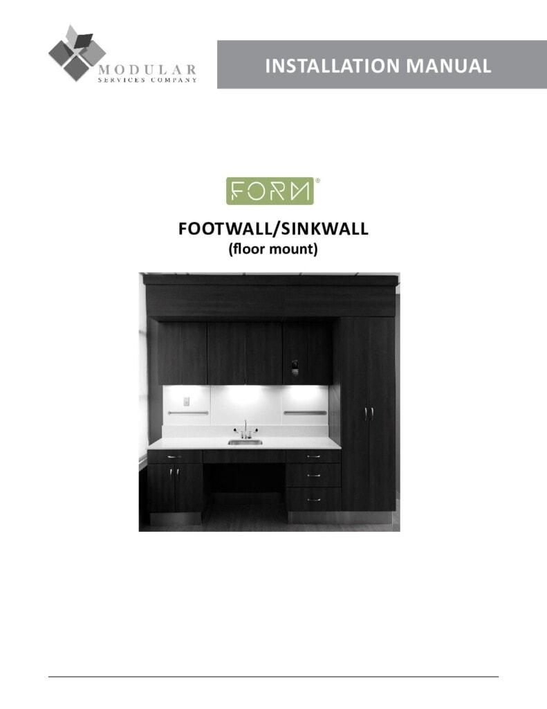 Form® Footwall & Sinkwall (Floor-Mount) Installation Manual